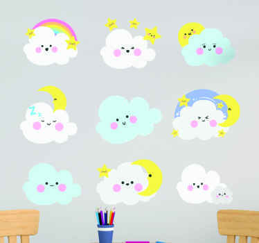Decorative funny emoji sticker for kid. The design a featured with different clouds, stars and rainbow with happy faces.