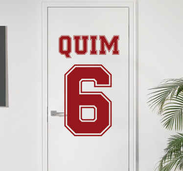 A door vinyl sticker designed with a name and number.  The design is nice for the door space of teens and children . Easy to apply and self adhesive.