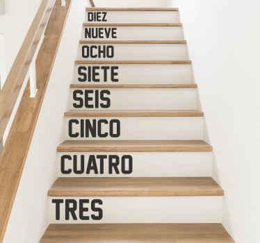 Vinilos adhesivos para escaleras con números con los que podrás indicar el número de escalones. Elige medidas ¡Envío a domicilio!