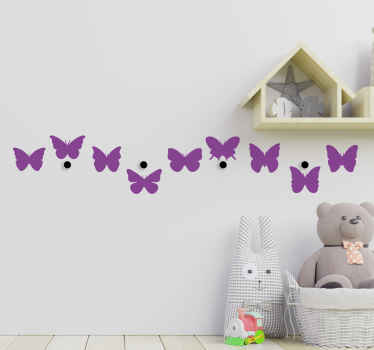 Buy our decorative coat hanger wall sticker with butterflies design. It is customisable in different colours and size options.