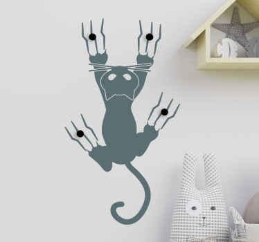 Pechas adhesivas decorativas con gato escalando pared para que tus abrigos y elementos de ropa estén localizados ¡Envío a domicilio!