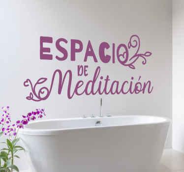 """Frase vinilo pared para baños que cita """"espacio de meditación"""" perfecto para colocarlo cerca de la bañera y relajarse ¡Envío a domicilio!"""