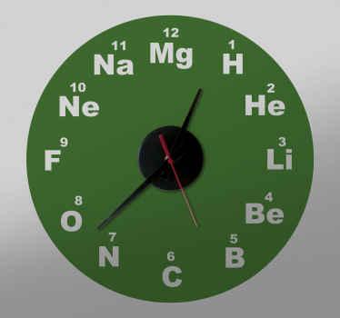 Reloj de vinilo para pegar en la pared con el diseño del símbolo del elemento químico en cada hora. Fácil de colocar ¡Envío a domicilio!