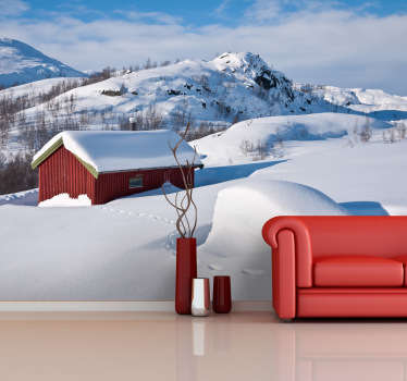 雪の壁の壁のステッカーで覆われた家