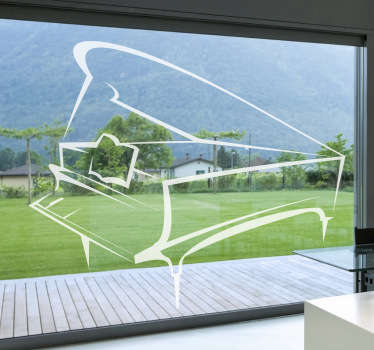 Musical wall sticker to decorate your home with a fantastic design of outlines of a piano. Extremely long-lasting material.