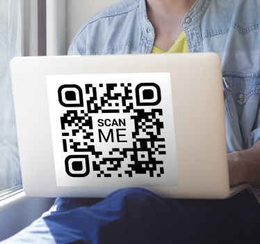 Decorative laptop vinyl sticker design with a QR code scanning design with the text '' scan me''. It is self adhesive and easy to apply.