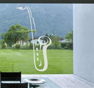 A decorative decal of a saxophone, a wind musical instrument to decorate your living room whilst listening to jazz.
