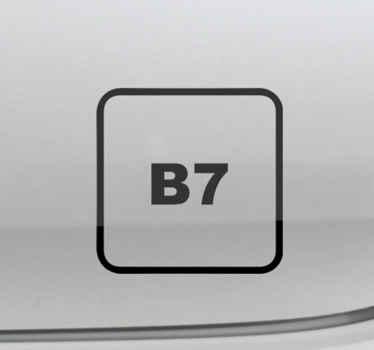ディーゼルb7の象徴的な標識ラベルデカールで車の表面を飾ります。さまざまなサイズと色のオプションがあります。