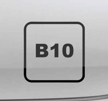Decorate the surface of your vehicle with an iconic label decal for diesel B10. It is available in any required size and made of high quality vinyl.