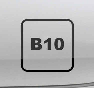 Verzieren Sie die Oberfläche Ihres Fahrzeugs mit einem Symbol Aufkleber für Diesel B10. Es ist in jeder gewünschten Größe erhältlich und aus hochwertigem Vinyl gefertigt.