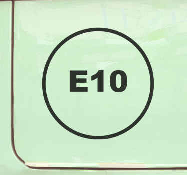 Vehicle iconic sticker design made on a round background with the symbolic gasoline( E10) on it. It is available in customisable colour and sizes.