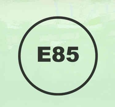 象徴的なガソリン(e58)が丸い背景に作られた車両の象徴的なステッカーデザイン。貼り付けが簡単で自己粘着性があります。