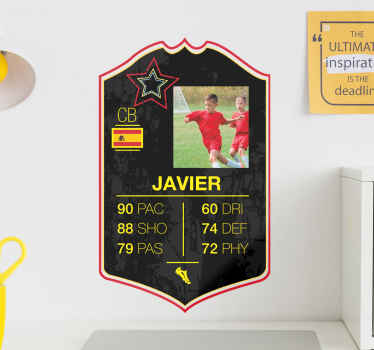 A decorative star card football player sticker with customisable name, country flag and photo. It is made from high quality vinyl and easy to apply.