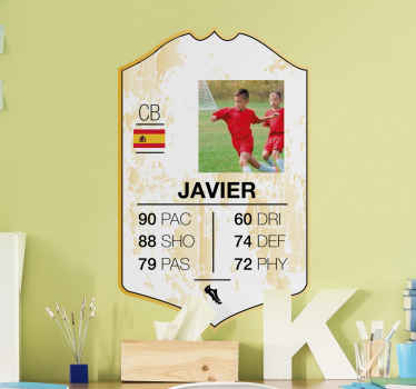A decorative football card player sticker for teens and kids bedroom space. It is customisable with your own image, flag and name.