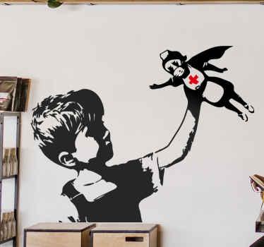银行艺术作品的城市墙壁艺术贴纸设计。该设计有不同尺寸,可轻松应用于任何平面。