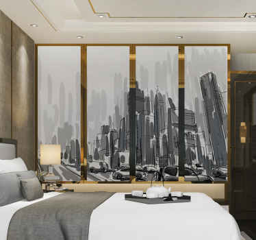 A decorative closet door furniture sticker with a beautiful design of a city landscape. The design is available in any required dimension for a space.