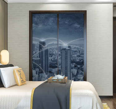 An amazing furniture vinyl sticker design for closet with a city skyscraper landscape view. It is customisable in dimension to meet your need.