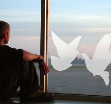 Sticker decorativo coppia di colombe