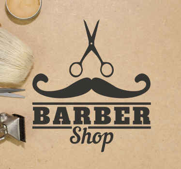 A decorative wall art sticker for barber's shop. The design has the image of a mustache, scissors and text that says '' barber's shop''.