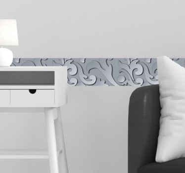 Dekorative Bordüre mit dem Design eines Metalleffekts, um Ihren Raum mit besonderer Note zu verbessern. Es ist selbstklebend und von hoher Qualität.