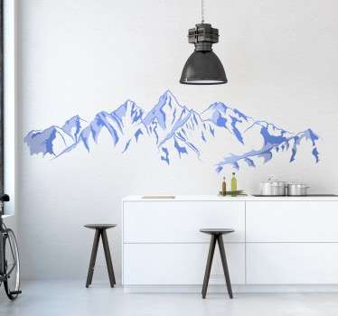 Mountain wall stickers - Incredible view of snowy mountains for lovers of mountain views. Personalised stickers. High quality materials.