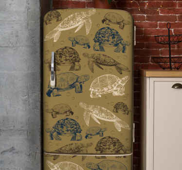 A decorative fridge wrap sticker for kitchen fridge and freezer door space. A design with prints of turtles on a beige background.