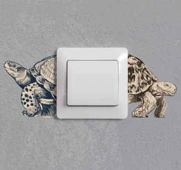 Light switch vinyl decal created with the design of turtle. This design is easy to place on  switch surface and it is available in any size required.