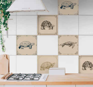 Waterproof tile sticker with different turtle prints on a beige background. It is available in any required size and it is self adhesive.