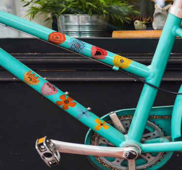 Bicycle frame decal with flower prints to decorate a bike and feel happy with it colorful appearance and original feel. Available in any size.