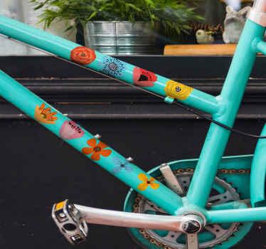 vinil autocolante decorativo de quadro de bicicleta com estampas de flores para decorar uma bicicleta e se sentir feliz com ela, aparência colorida e sensação original. Disponível em qualquer tamanho.