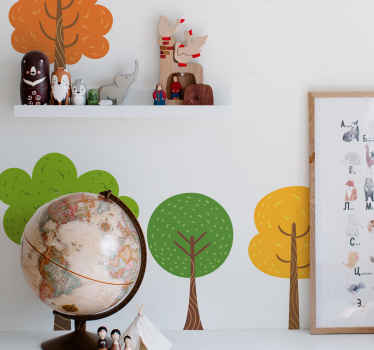 Tree wall art decal created with colorful little prints of plants. This decoration is available in any required size and made of high quality vinyl.