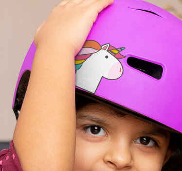 A bike helmet decal with the design of a unicorn.  A design to create a fairy fantasy for children as they enjoy bike riding.