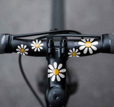 Bike frame decal with the design of daisies flowers. This amazing decoration is a perfect idea for any bike space especially for teenagers and kids.