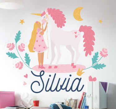 Personalize a name on our beautiful fairy unicorn kids wall sticker to decorate the bedroom space of your child. It is available in any required size.