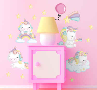 Fairy tale wall decal design hosted with collections of unicorns and rainbows in watercolor. An ideal decoration for the bedroom space of children.