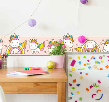 Glamour unicorns and rainbows set wall sticker to create a lovely border on your home wall space . It is available in any size required.