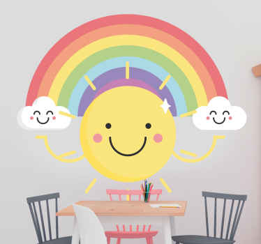 A lovely rainbow illustrative kids wall art decal created together with the sun in an emoji style. A cheerful decoration for the space of a child.