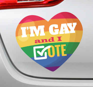 A car vinyl decal to decorate a vehicle space with a gay pride and right to vote.  It is a design created with a heart shape and the text.