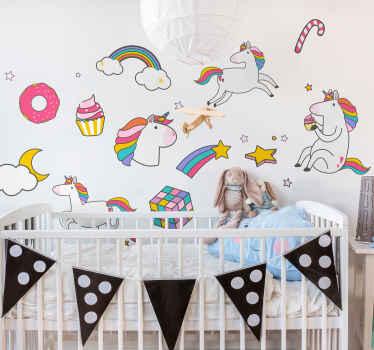 Un conjunto de vinilos pared infantiles de unicornios y arco iris para decorar el dormitorio de los niños. Perfecto para crear alegría ¡Envío a domicilio!