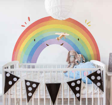 Bedroom wall sticker for kids with the design of a rainbow. This colorful illustrative infant wall decal is created with water colour and it texture.
