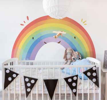 Vinilo pared infantil con diseño de arcoiris creado con color pastel para decorar la habitación de tus hijos de forma bonita ¡Envío a domicilio!