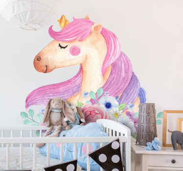 An amazing watercolor unicorn wall decal to decorate the space of your kid. A decoration to fill the space of your princess with a fairy fantasy.