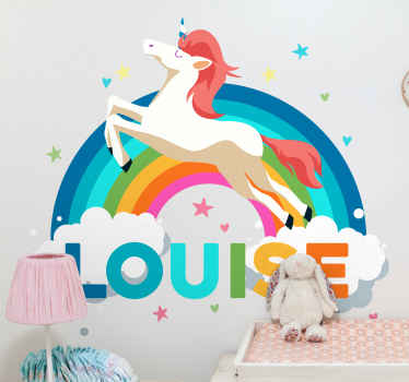 Order our white unicorn with rainbow personalized kids decal for the bedroom space of your child. It is available in any required.