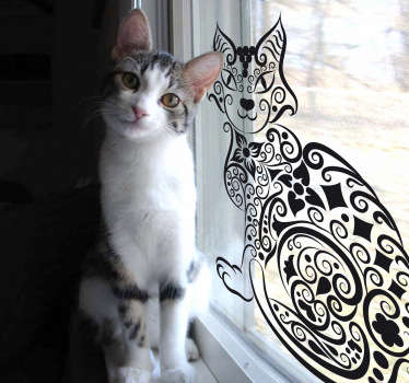 Vinilo decorativo gato abstracto