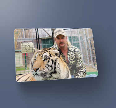 Now is time to enjoy and amazing sticker on your bank card.  Here we have for you a tiger king three card decal featuring the image of the character.