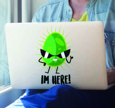 A smart and fun way to create awareness of covid 19 by placing our funky sticker on a laptop.  It has the a funny symbolic virus image with the text.