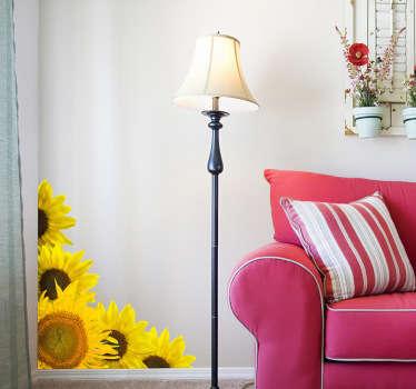 Auringonkukat olohuoneen seinän sisustus