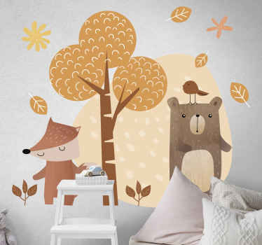 A decorative illustrative wall art decal of tree and animals that will add fun and happy mood to the space of children. Easy to apply.