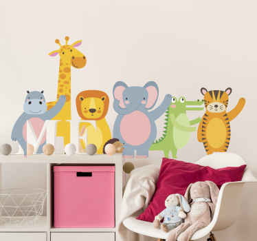 Animal wall art decal with different colorful cheerful animals to decorate the home with a happy and joyful mood. Easy to apply and of high quality.