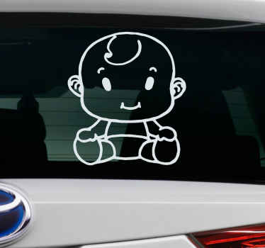 An illustrative baby on board car sticker design to place on a vehicle with child passenger. It is customisable in colour and size.